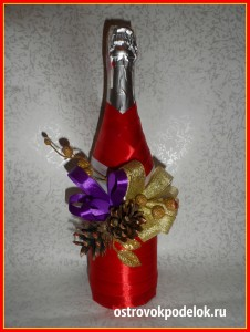 Декор бутылки лентами