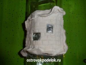 Декор бутылки соленым тестом