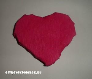 Топиарий « Сердце» из ваты и атласной ленты