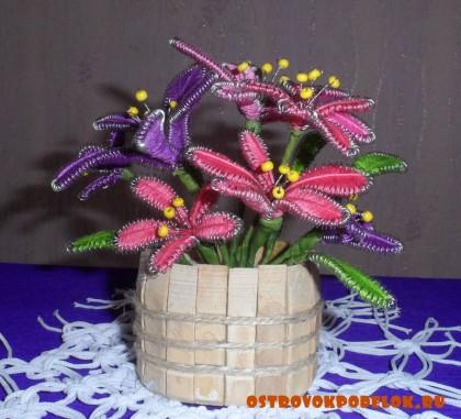 цветочки из ниток и проволоки