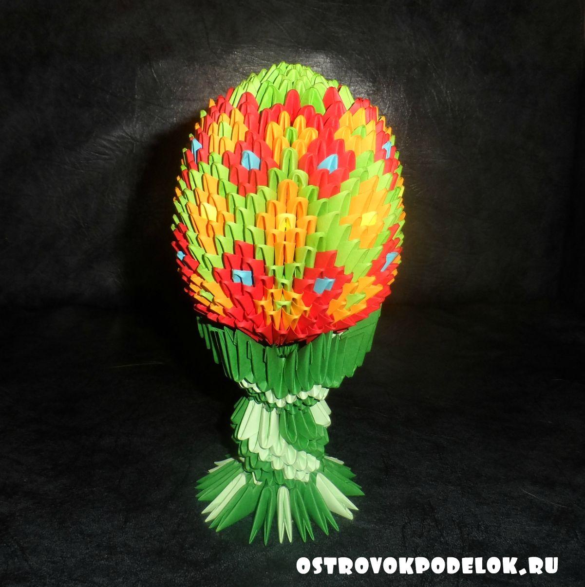 корзина для цветов. модульное оригами, схема.