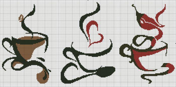 Схемы для вышивки крестом кофе чай