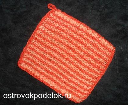 Полосатая прихватка ( вязание спицами)