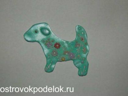 """Брошь """" собачка"""" из полимерной глины"""