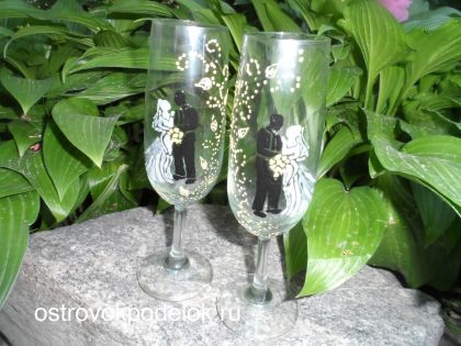 Витраж свадебных бокалов