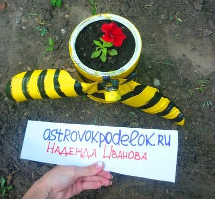 Конкурсная работа: садовые поделки (Чаша с цветами, хрюшки, пчелы и мухоморы)
