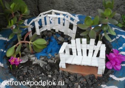 Садовая миниатюра из прищепок