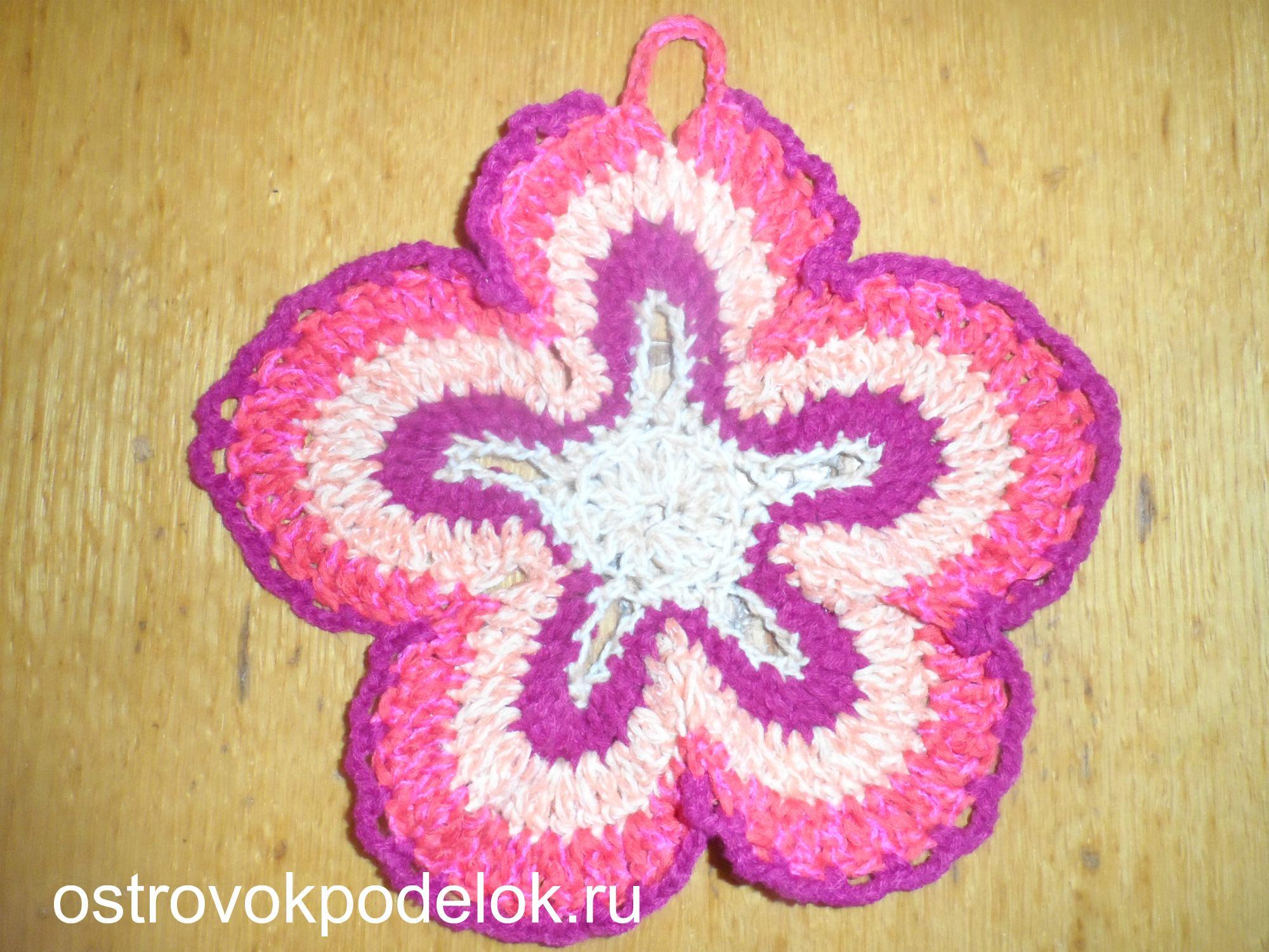 Вязание крючком прихватки с цветами 101