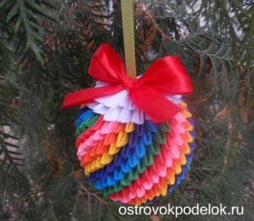 Оригами модульное: шар на елку